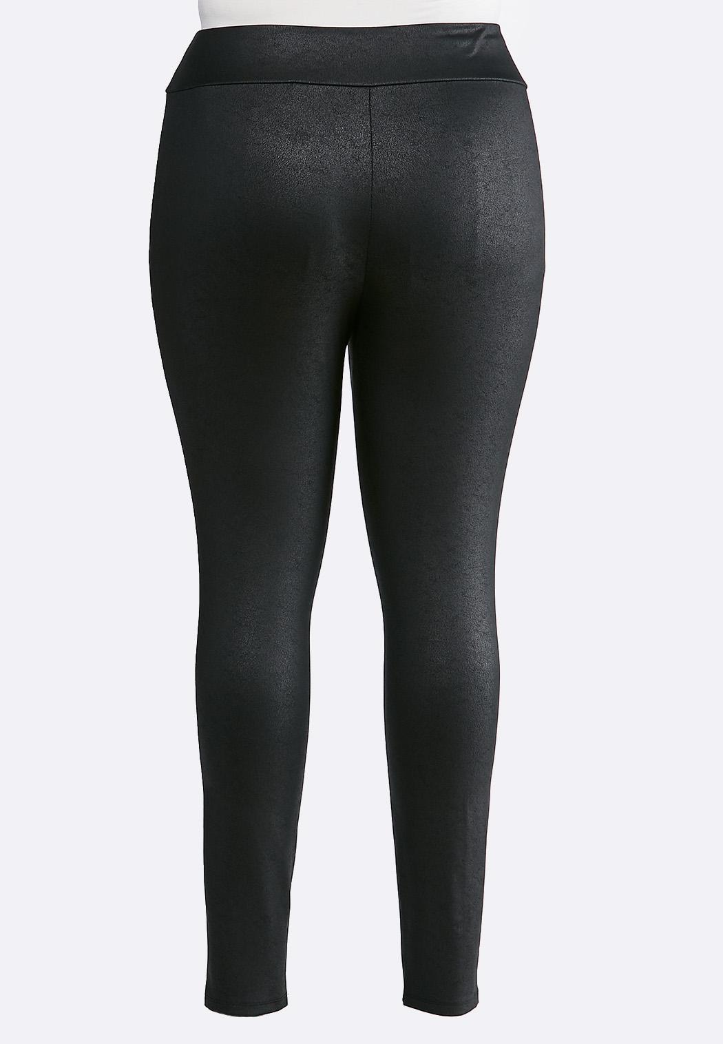 Plus Size Black Coated Leggings (Item #44005247)