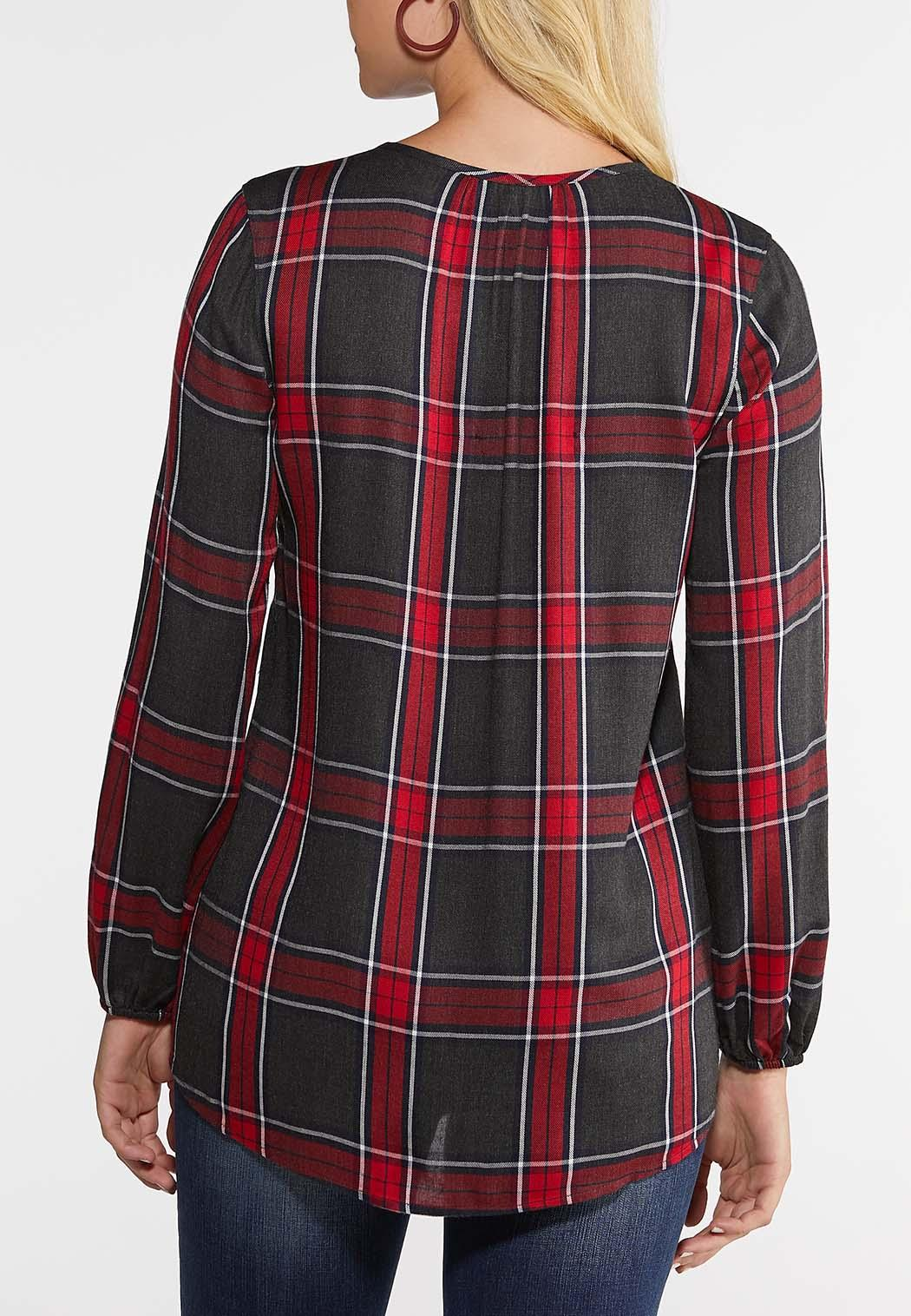 Plus Size Red Criss Cross Plaid Top (Item #44005312)
