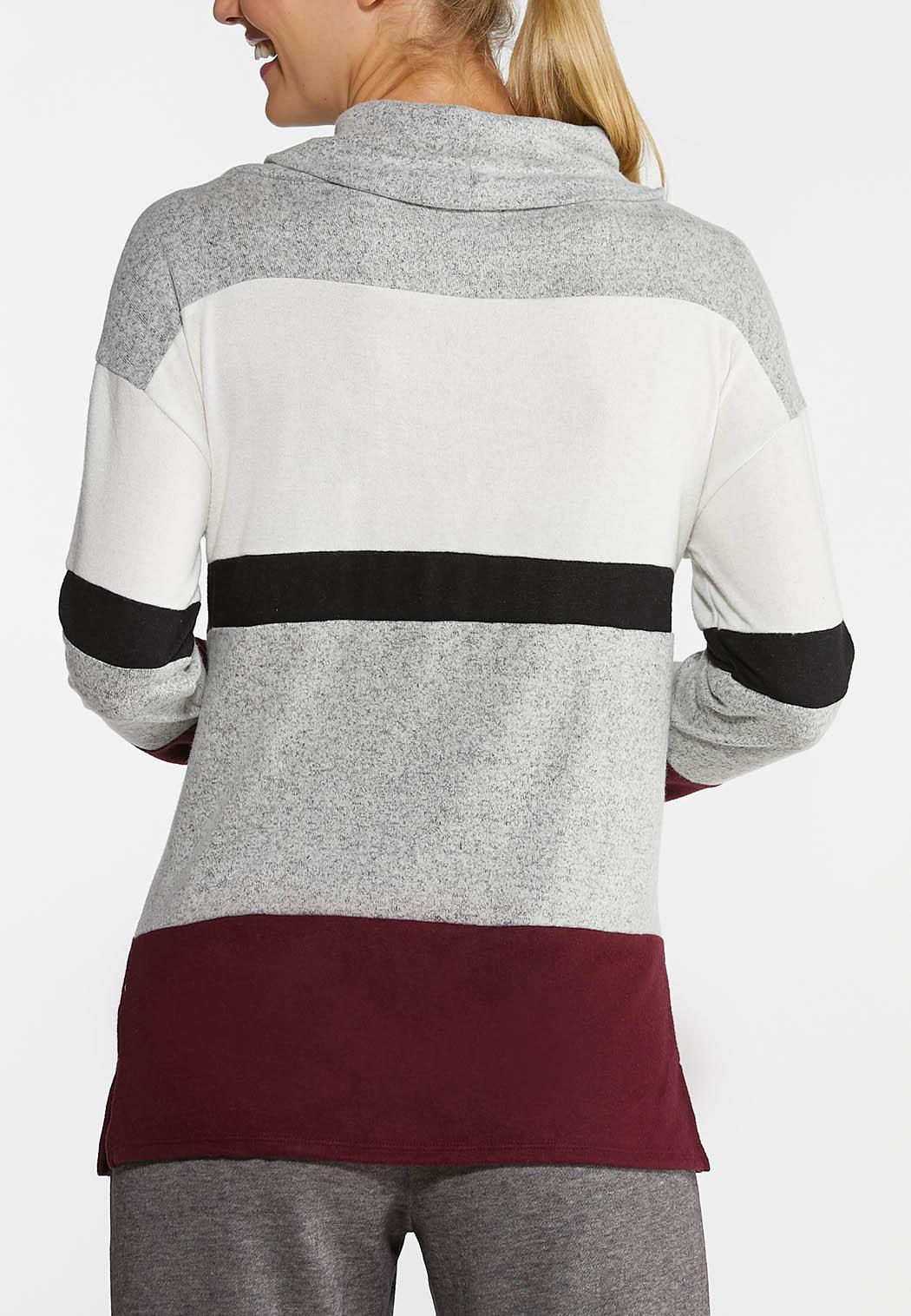 Plus Size Colorblock Cowl Neck Top (Item #44005854)