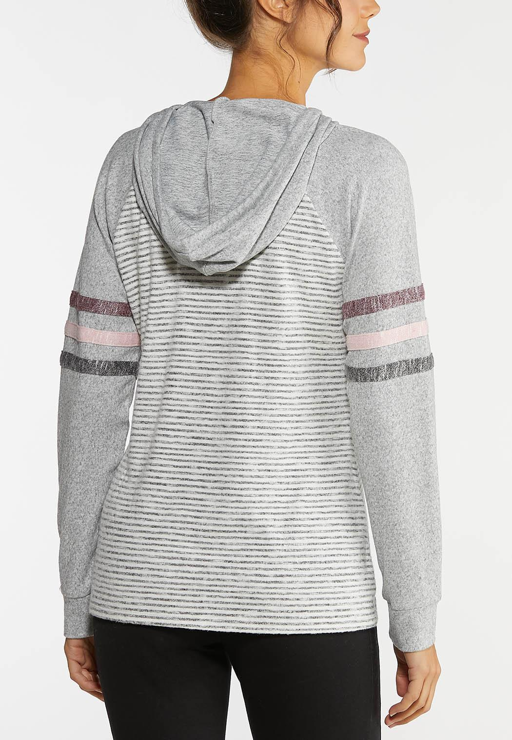 Plus Size Striped Hooded Sweatshirt (Item #44006083)
