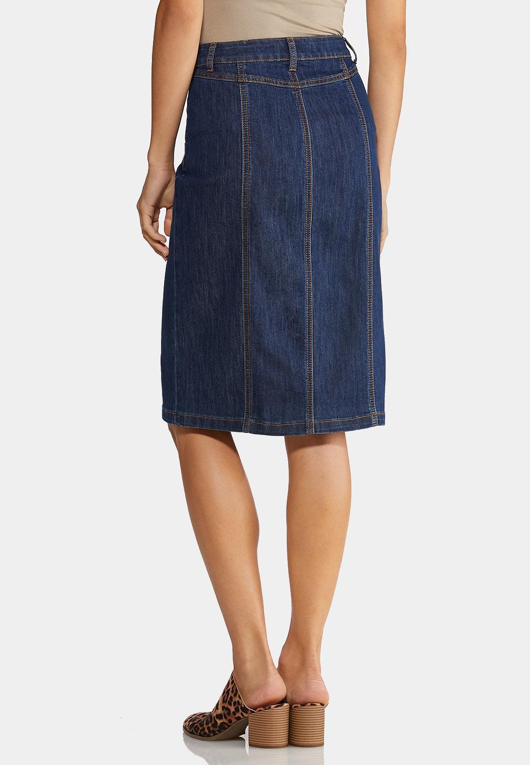 Button Down Denim Skirt (Item #44006660)