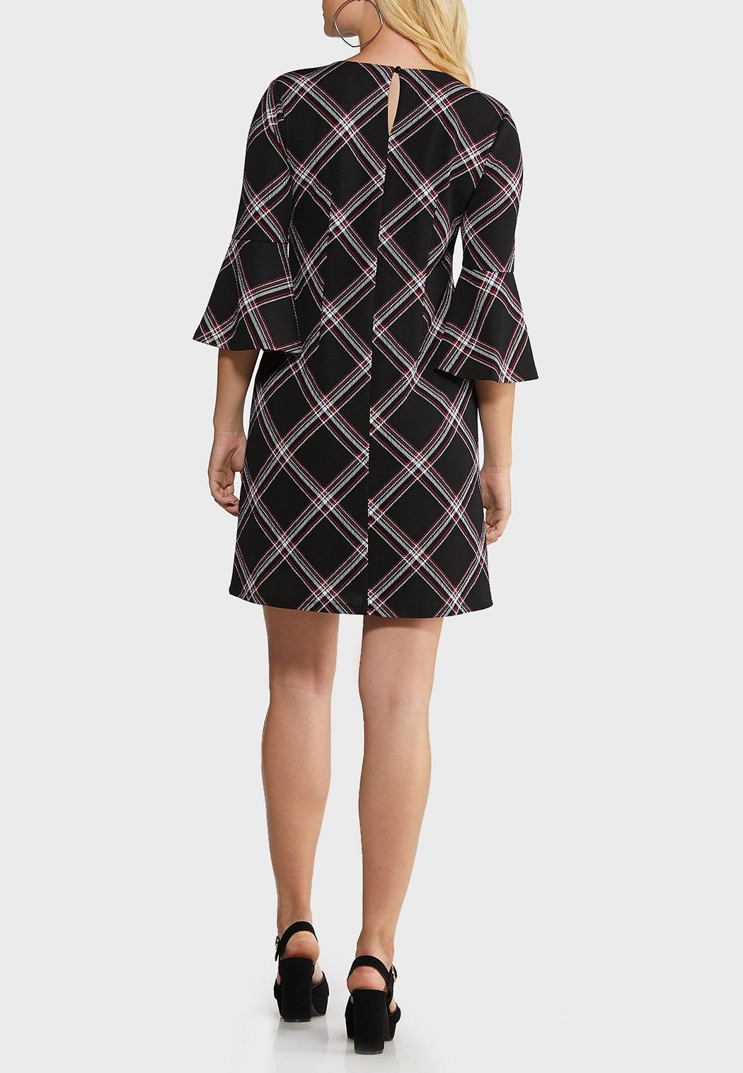 Plus Size Patterned Bell Sleeve Dress (Item #44007782)
