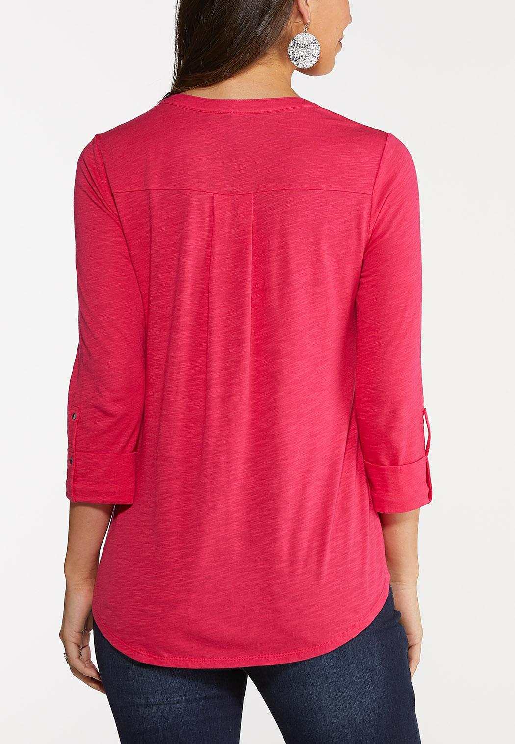 Plus Size Lace Up Pocket Top (Item #44007994)