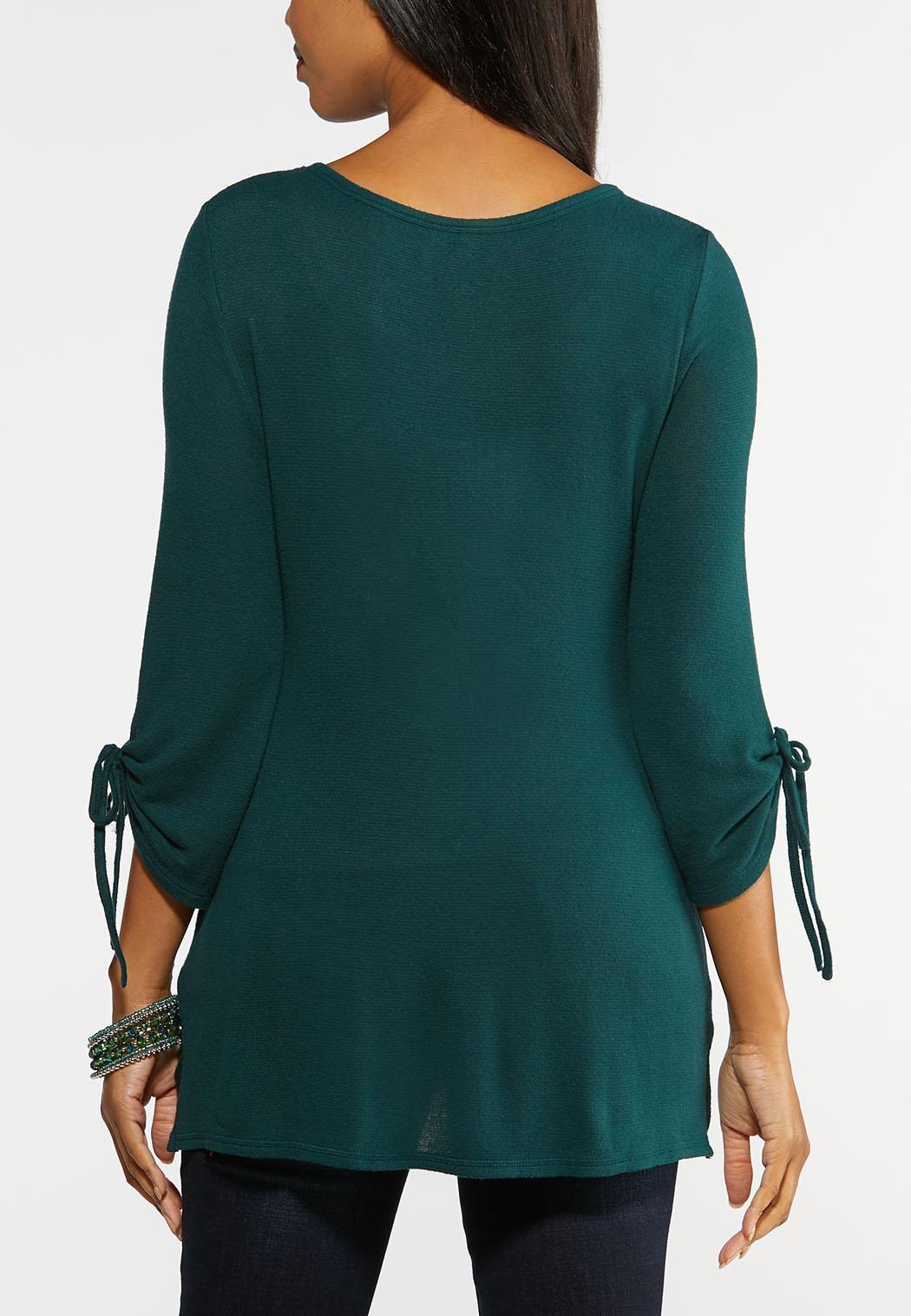 Plus Size Grommet Knit Top (Item #44008072)