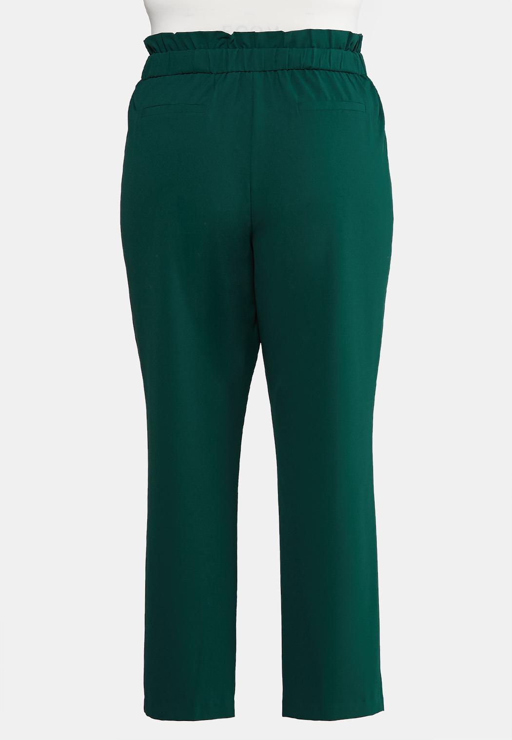 Plus Size Solid Paperbag Pants (Item #44009001)