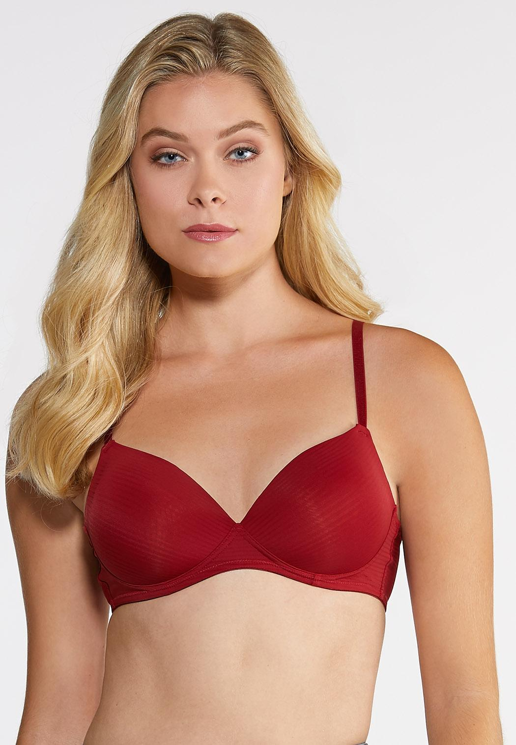 Plus Size Shadow Stripe Wire-Free Bra Set (Item #44009788)