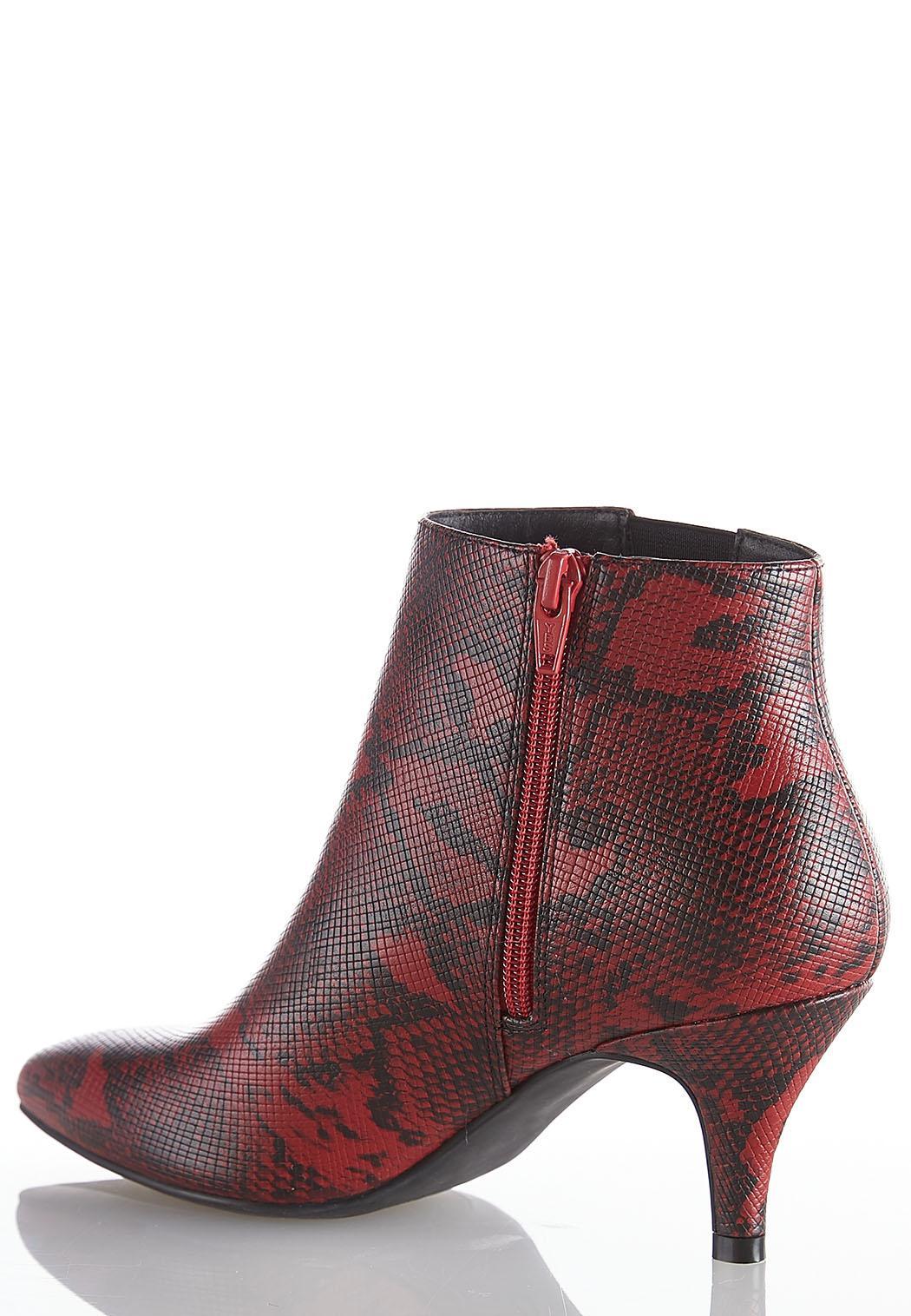 Red Snakeskin Booties (Item #44010974)