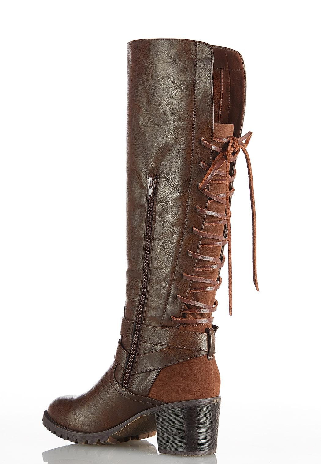 Wide Width Lace Up Back Tall Boots (Item #44011032)