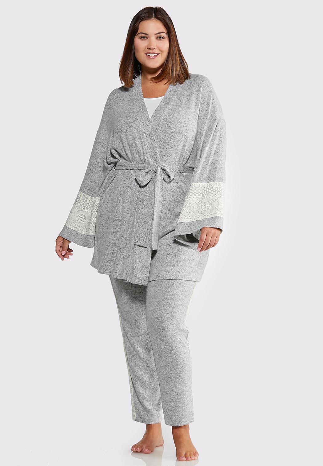 Plus Size Lace Sleeve Lounge Cardigan (Item #44013298)