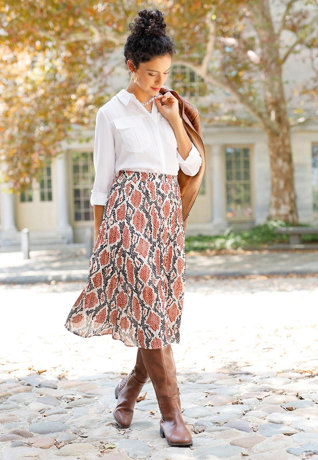 Pleated Snakeskin Print Skirt (Item #44014275)
