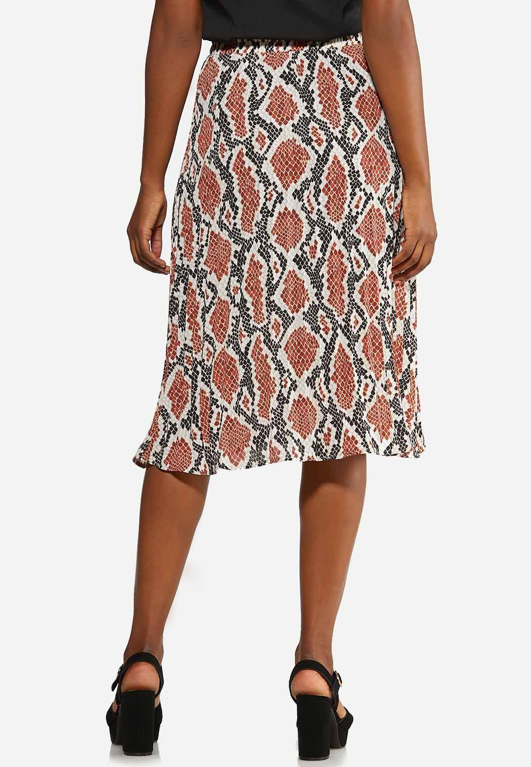 Plus Size Pleated Snakeskin Skirt (Item #44014340)