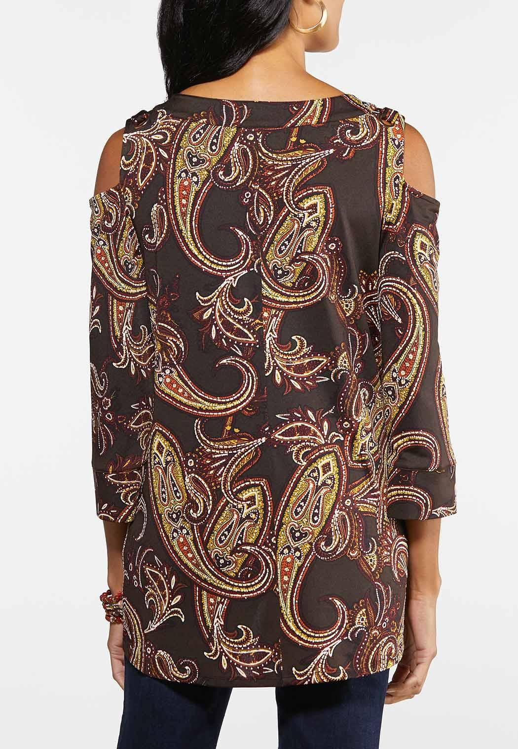 Paisley Puff Cold Shoulder Top (Item #44014639)
