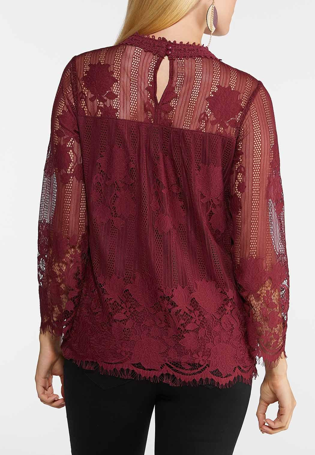 Lace Mock Neck Top (Item #44014753)