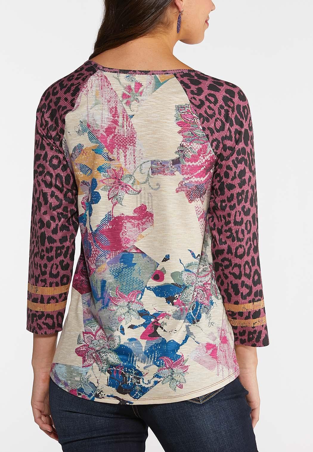 Floral Leopard Sleeve Top (Item #44014980)