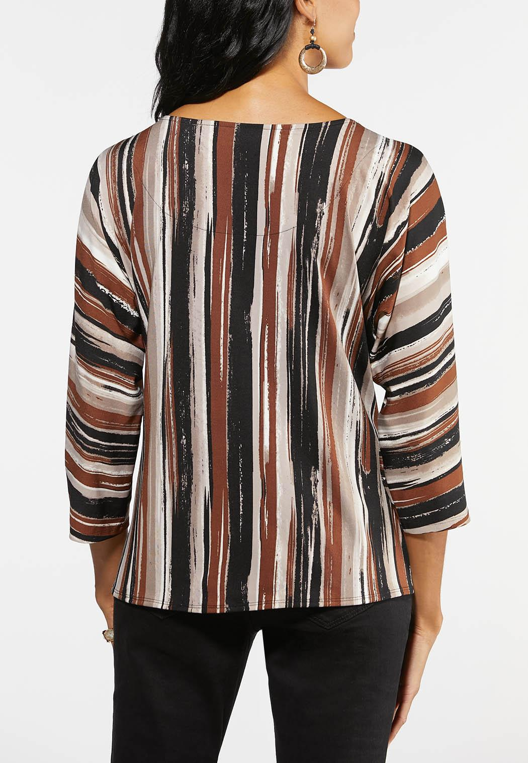 Plus Size Rustic Stripe Tie Front Top (Item #44015396)