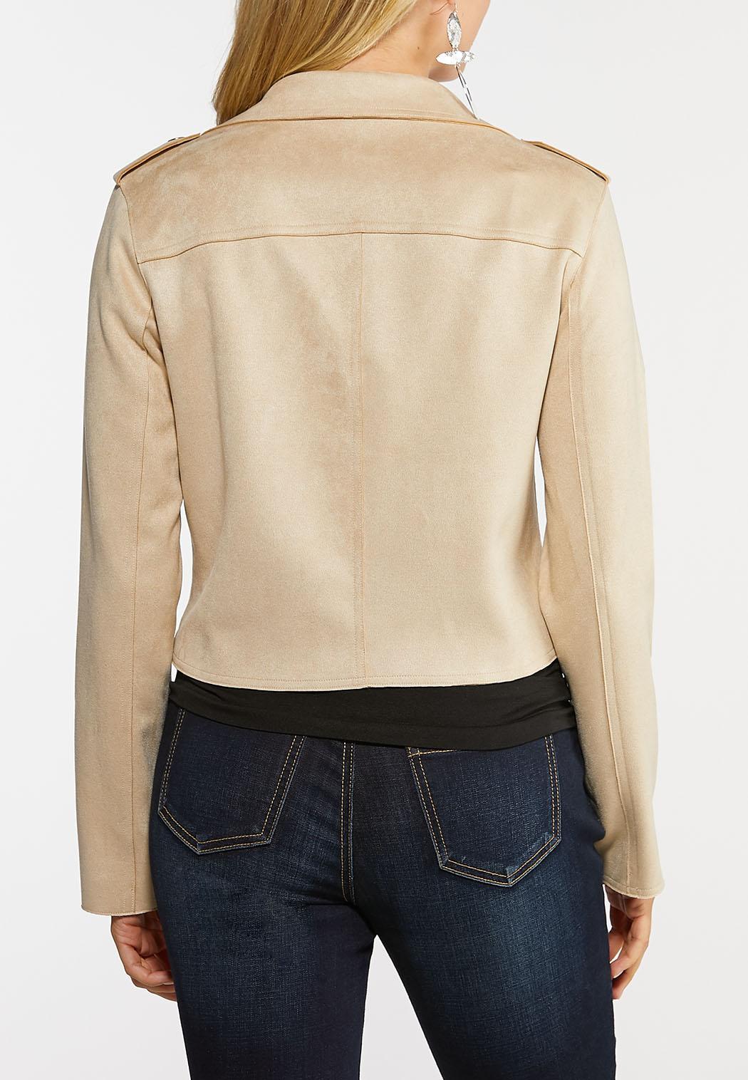 Plus Size Drape Suede Moto Jacket (Item #44015585)