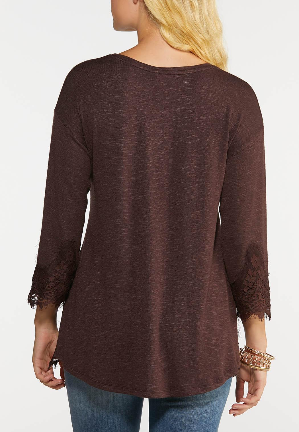 Plus Size Lace Hem Hacci Top (Item #44015896)