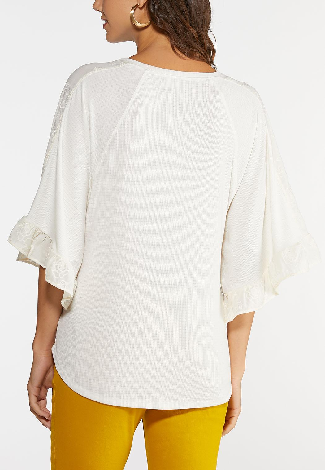 Plus Size Embroidered Flutter Sleeve Top (Item #44017317)