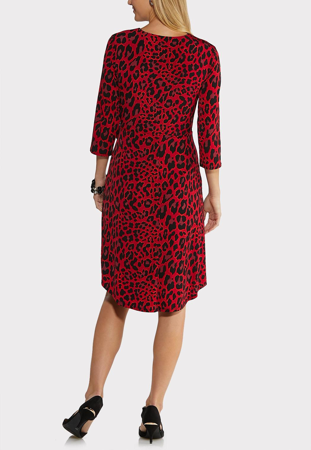 Plus Size Red Leopard Dress (Item #44017355)