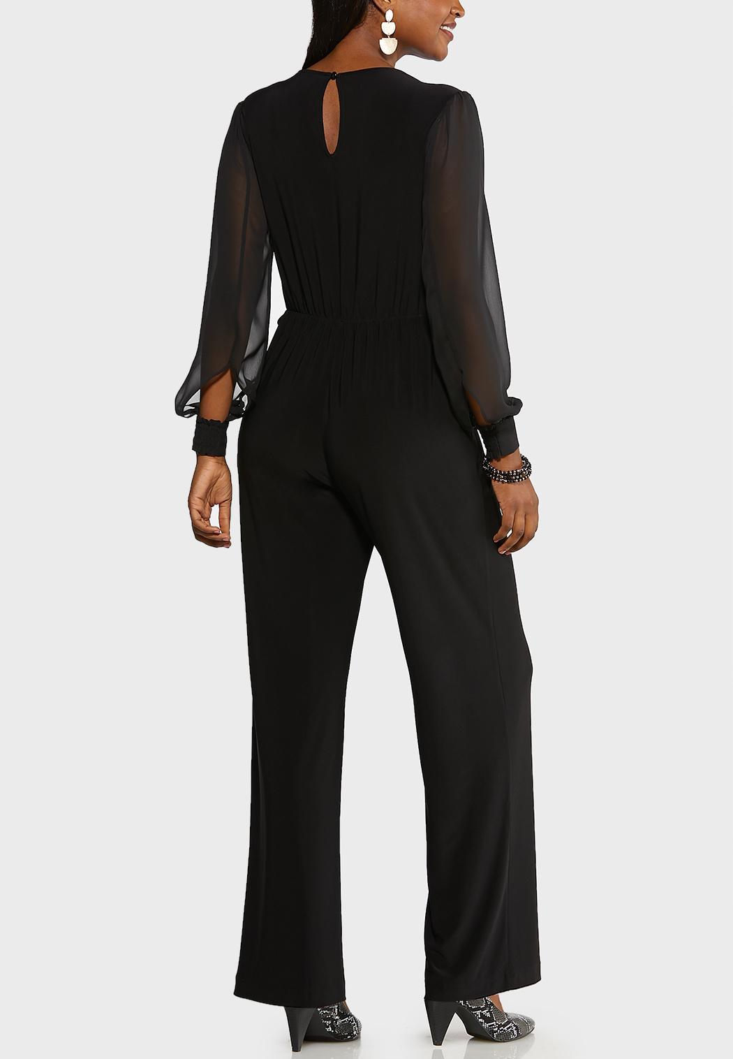 Plus Size Surplice Tie Jumpsuit  (Item #44017588)