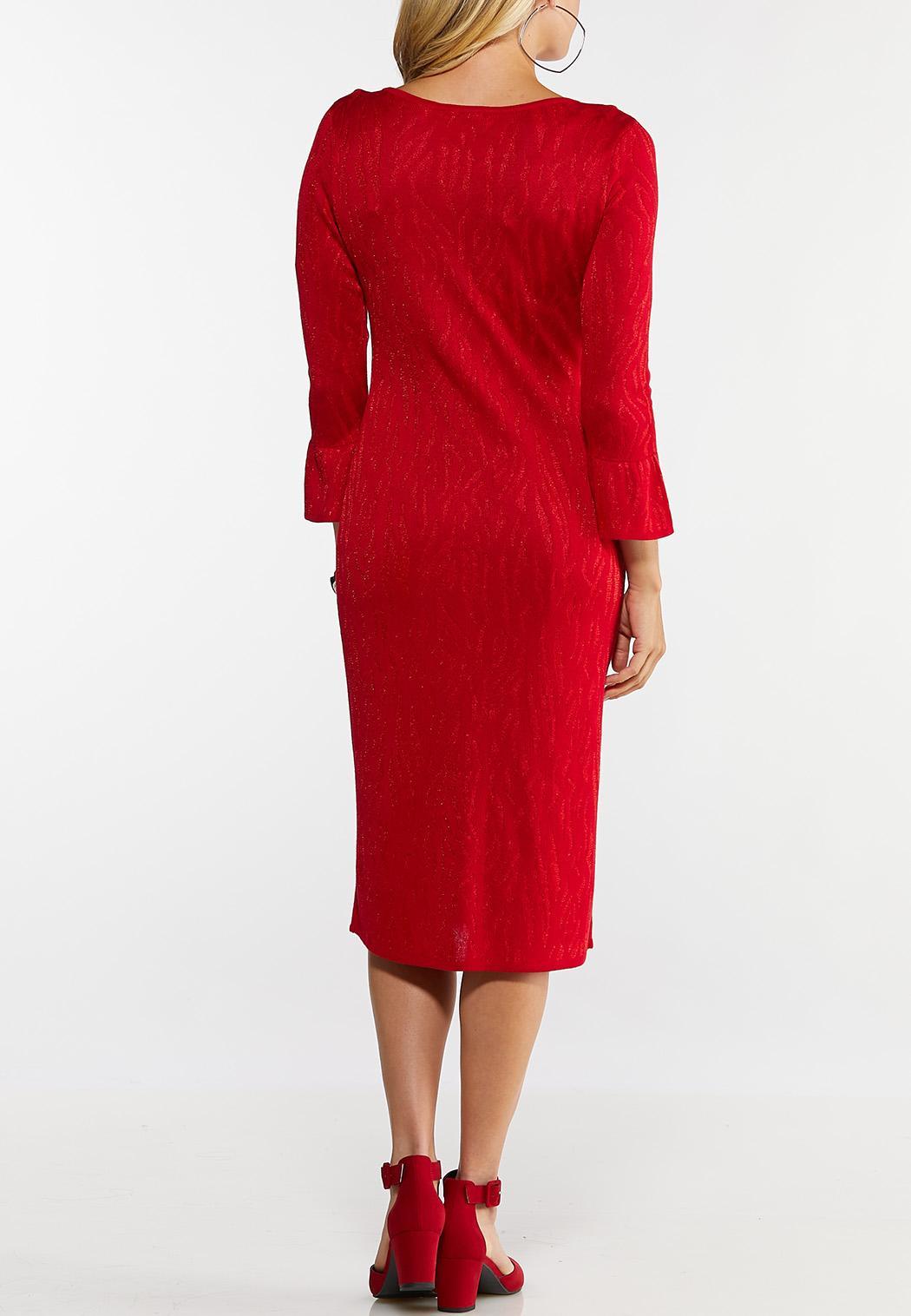 Plus Size Red Zebra Print Sweater Dress (Item #44017697)