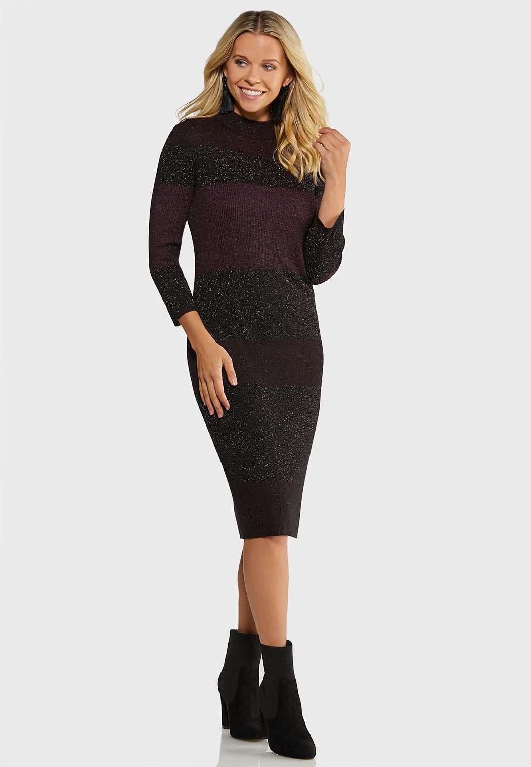 Colorblock Shimmer Sweater Dress (Item #44017719)