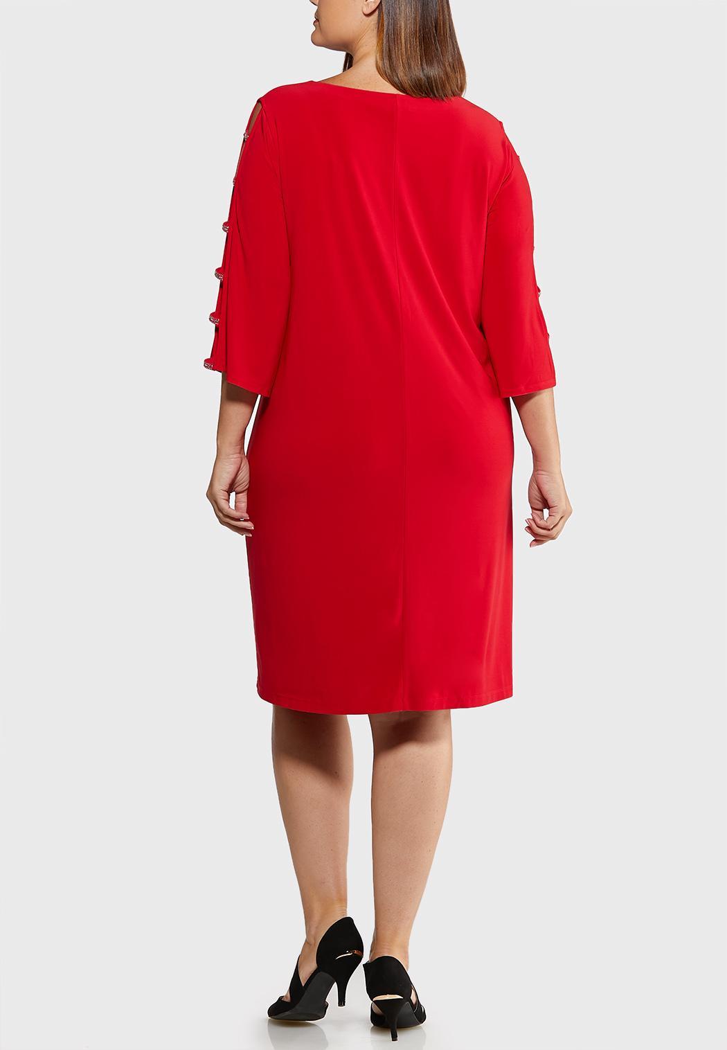 Plus Size Rhinestone Ladder Sleeve Shift Dress (Item #44018794)