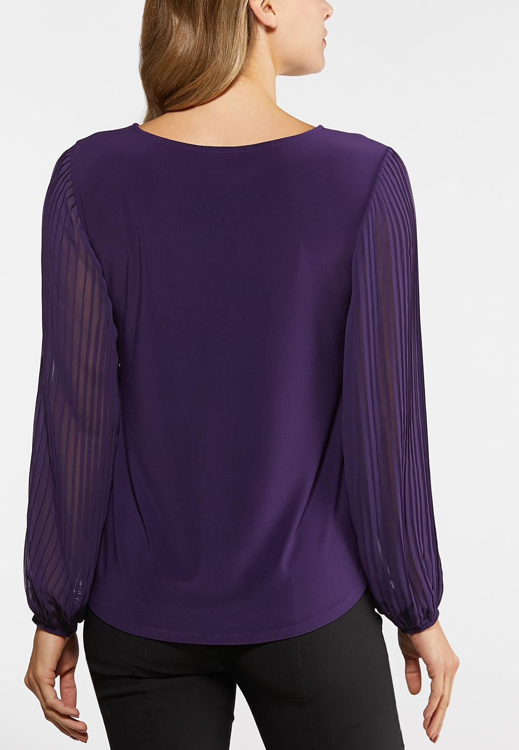 Plus Size Purple Pleated Sleeve Top (Item #44019372)
