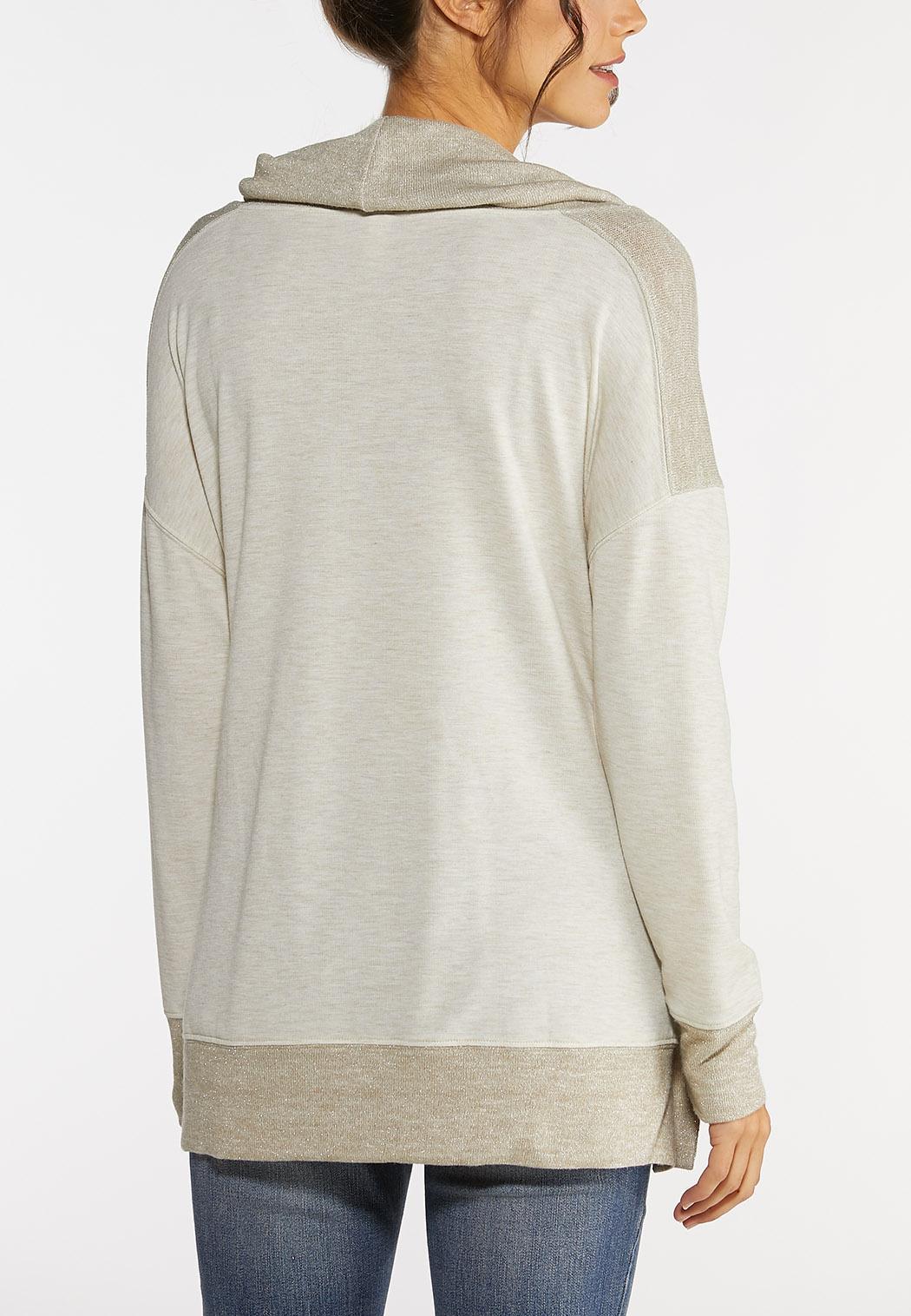 Plus Size Snap Cowl Neck Sweatshirt (Item #44020962)