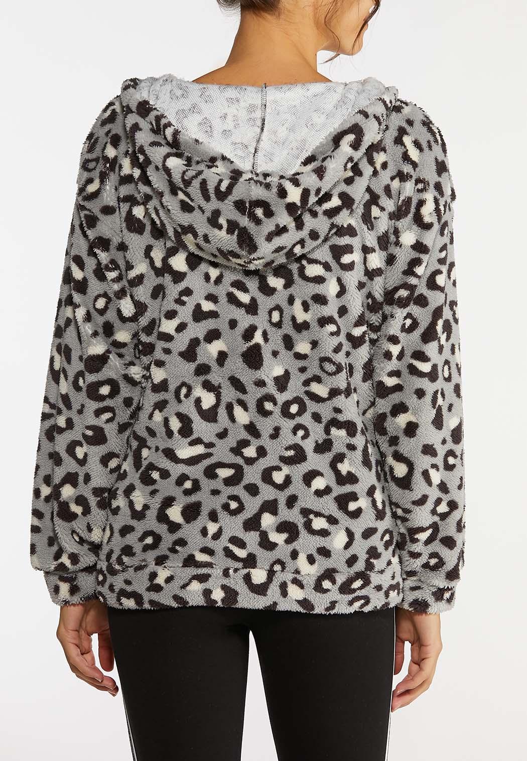 Plus Size Cozy Cheetah Zip Jacket (Item #44020970)