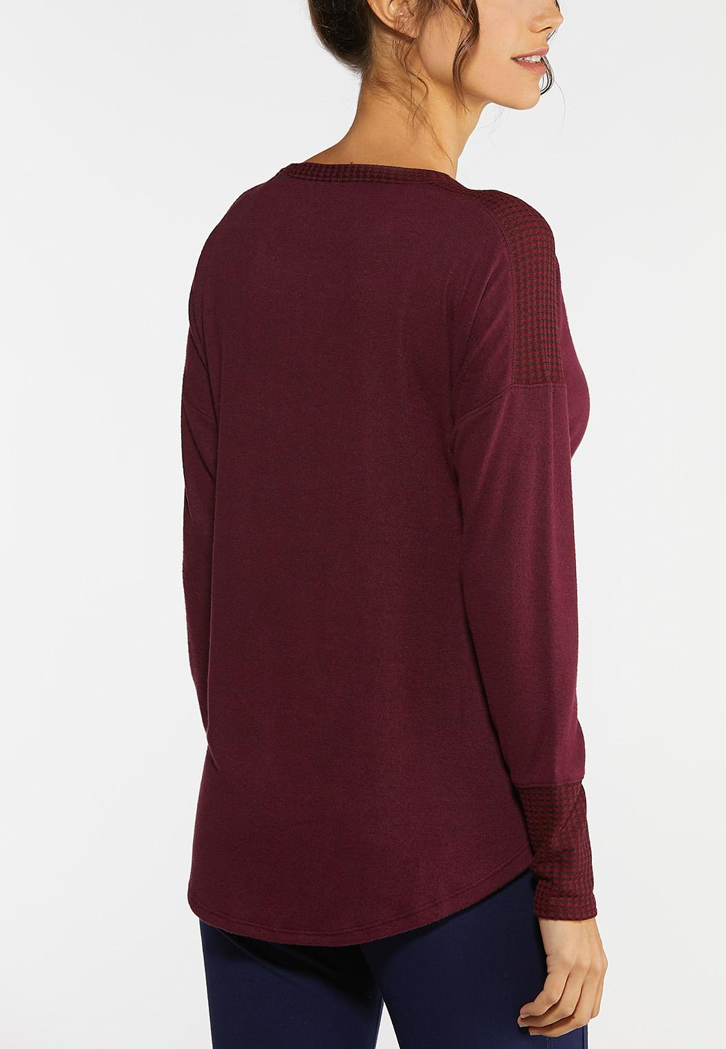 Plus Size Mixed Knit Tunic Top (Item #44021093)