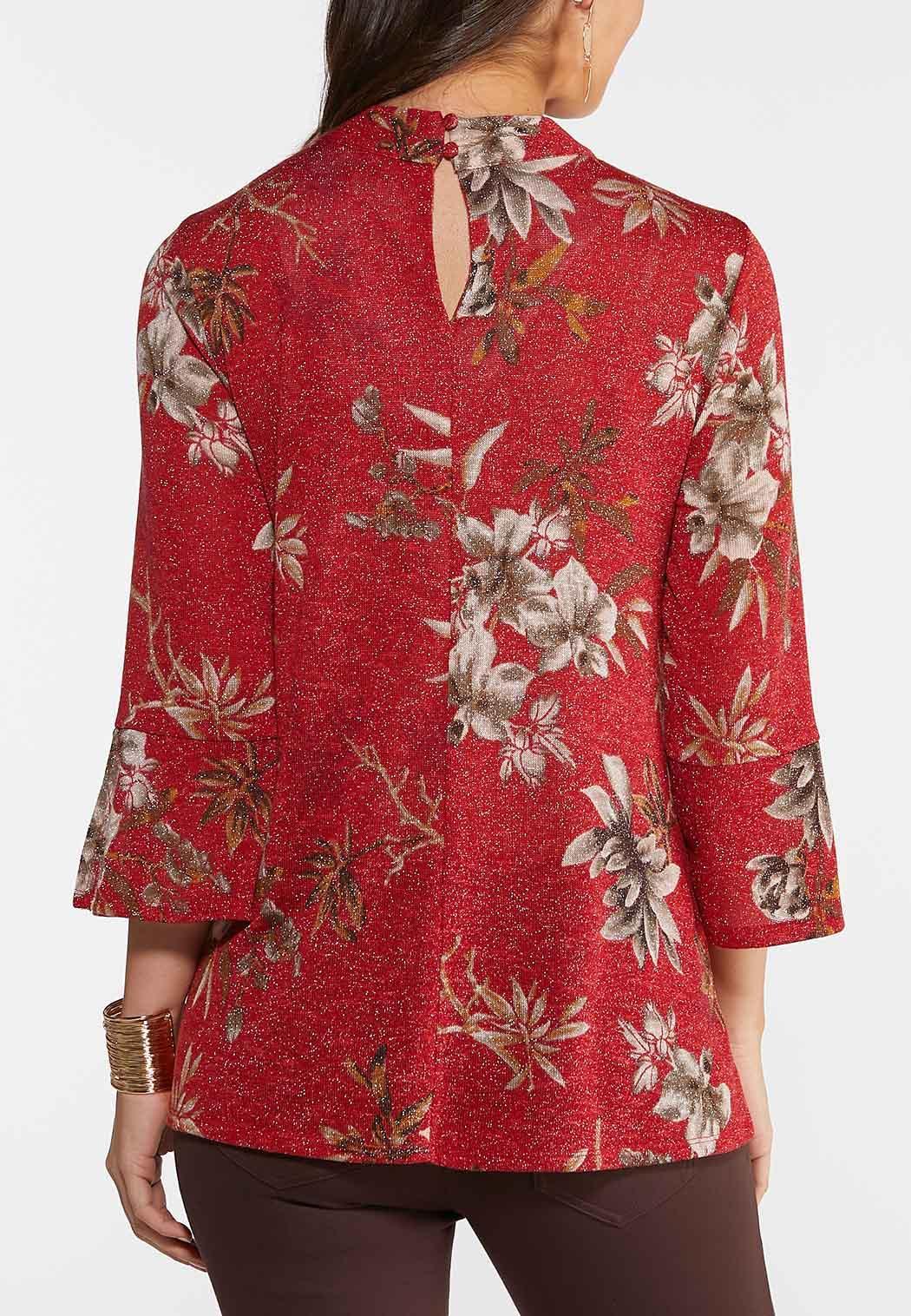 Plus Size Floral Sparkle Top (Item #44021290)