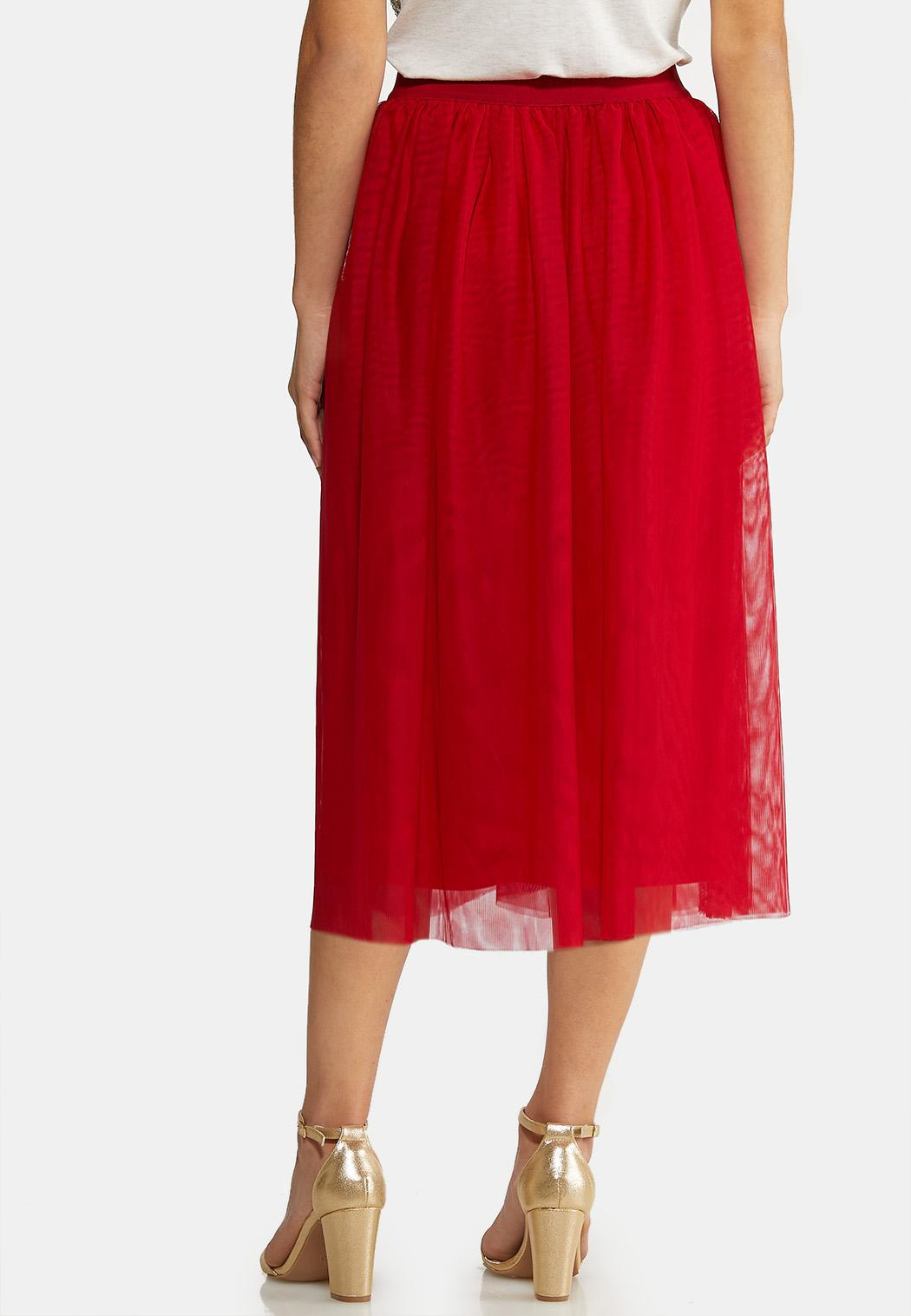 Plus Size Red Mesh Party Skirt (Item #44021979)