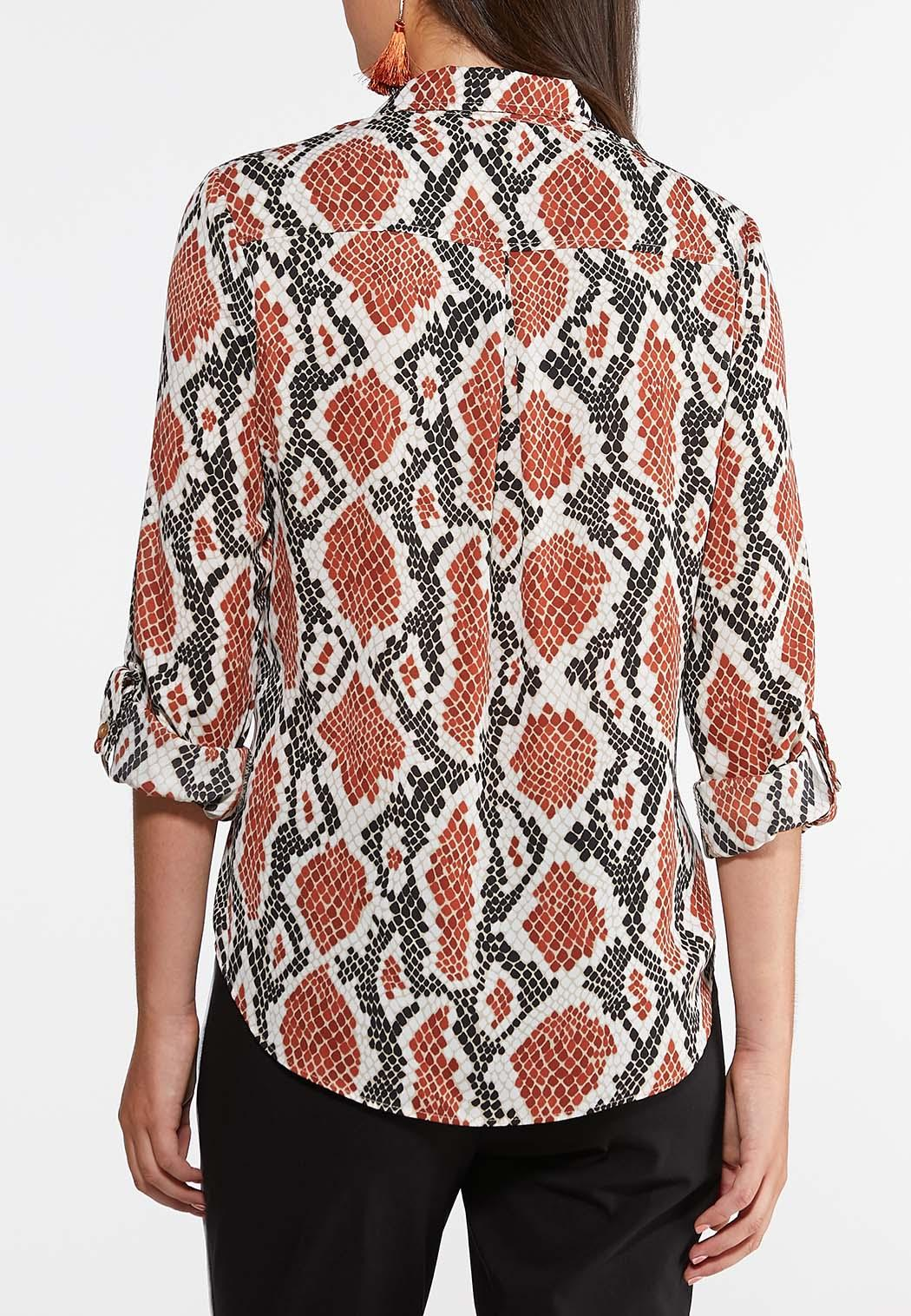 Plus Size Button Down Snake Top (Item #44022367)