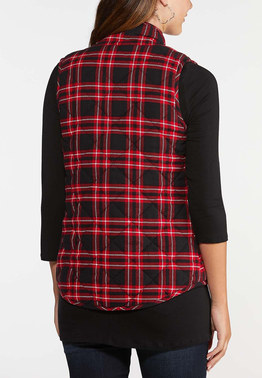 Red Plaid Puffer Vest (Item #44022462)