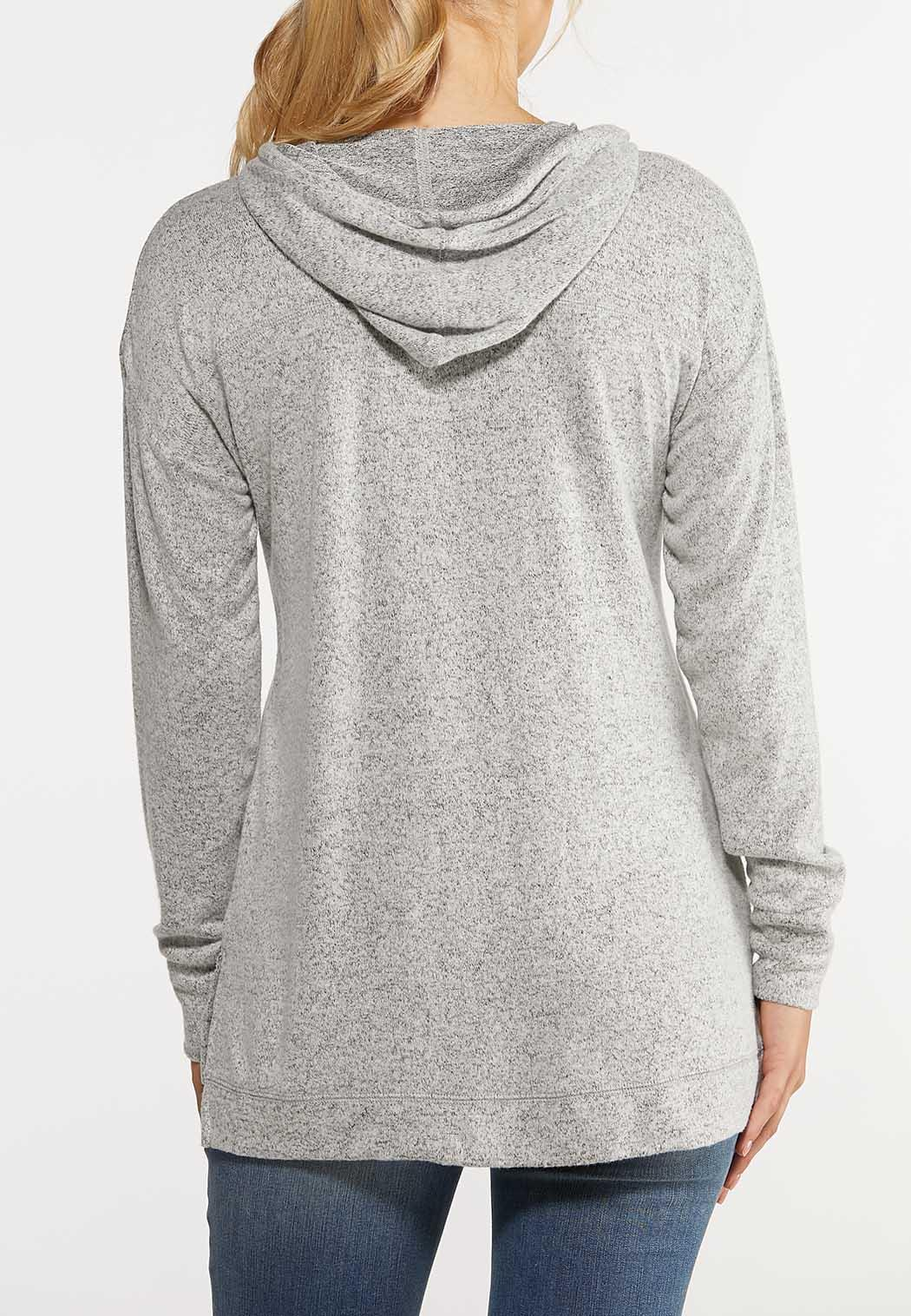 Plus Size Sequin Love Hooded Top (Item #44023138)