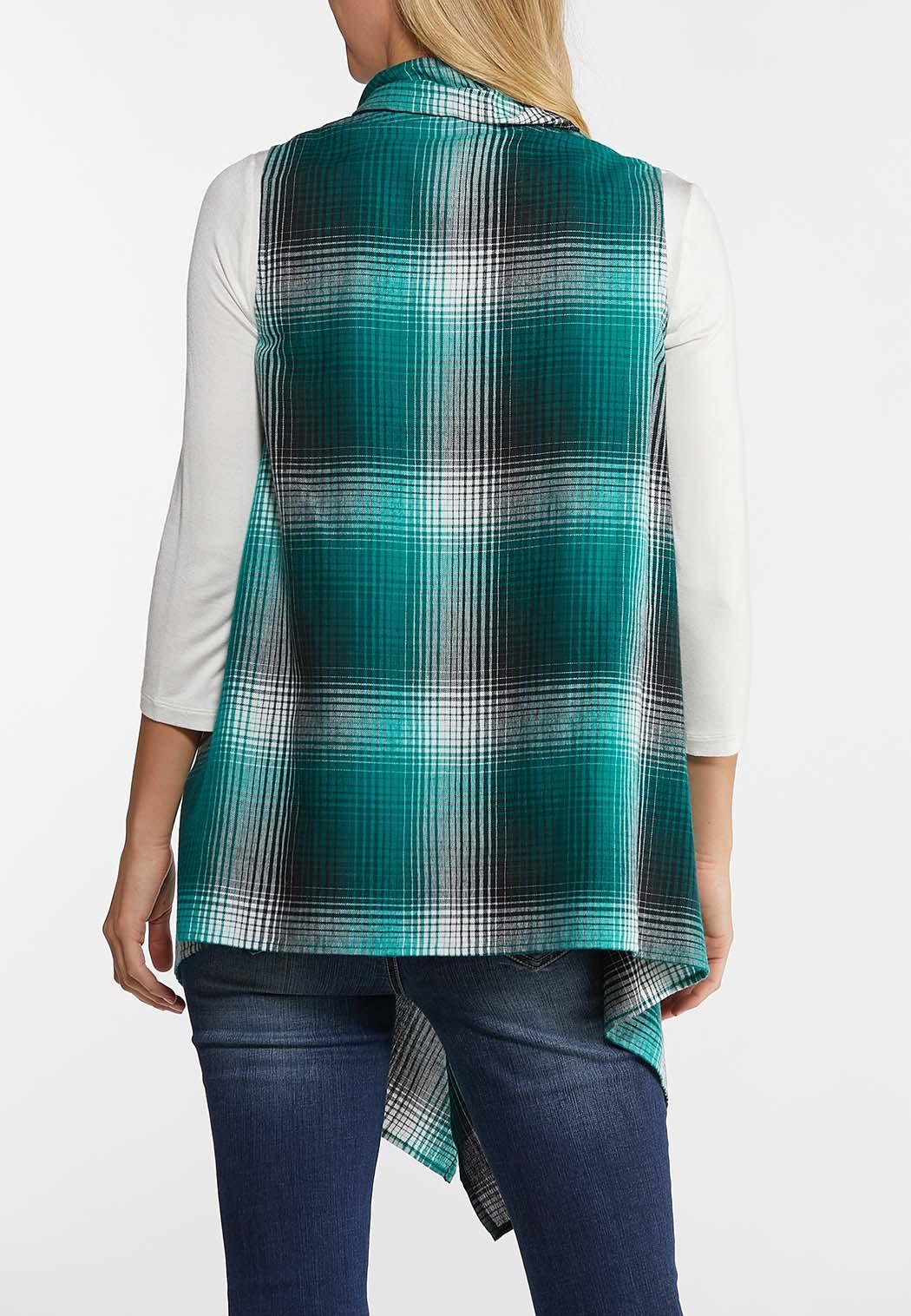 Ombre Plaid Drape Vest (Item #44023228)