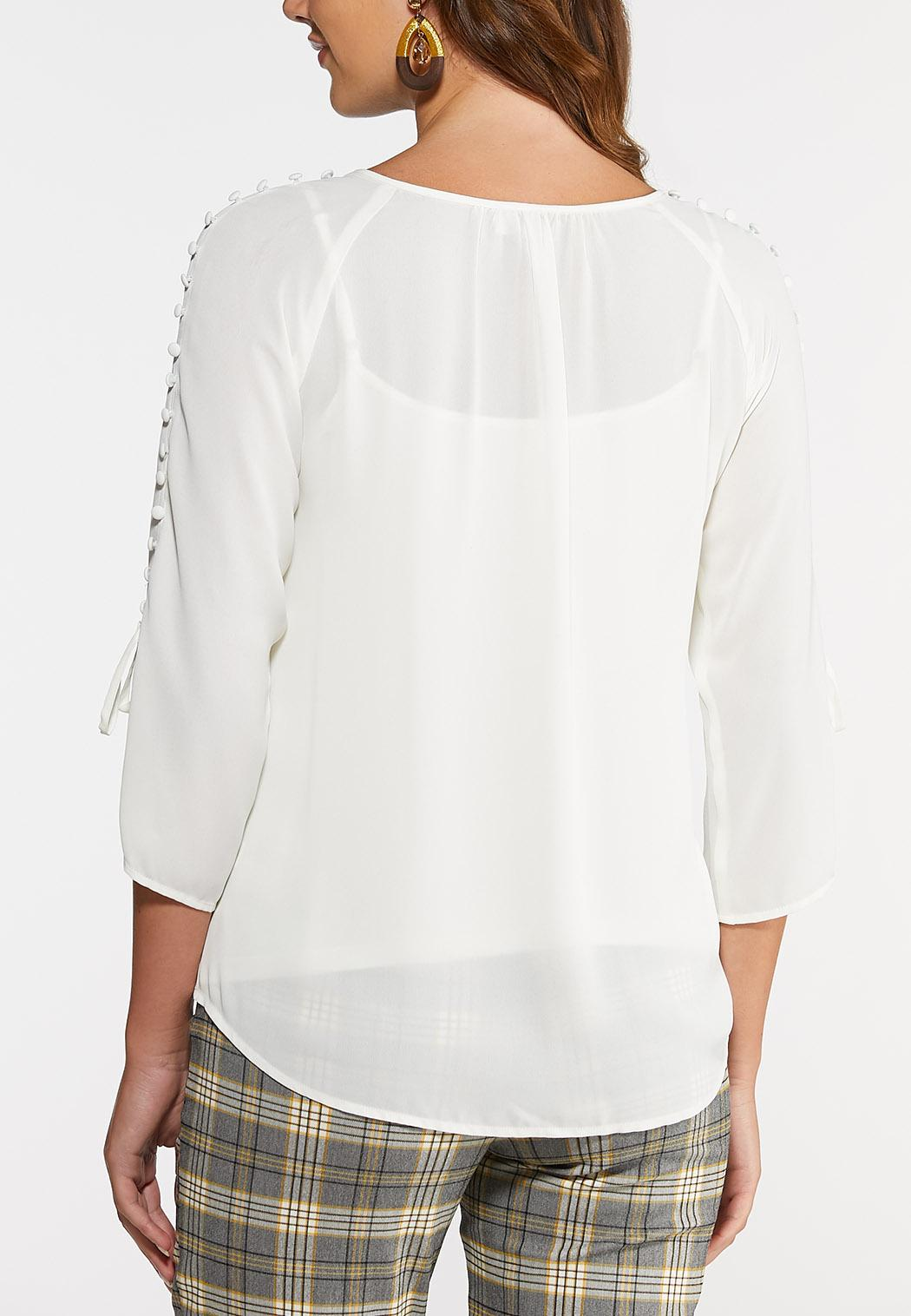Plus Size Ivory Button Sleeve Top (Item #44023351)
