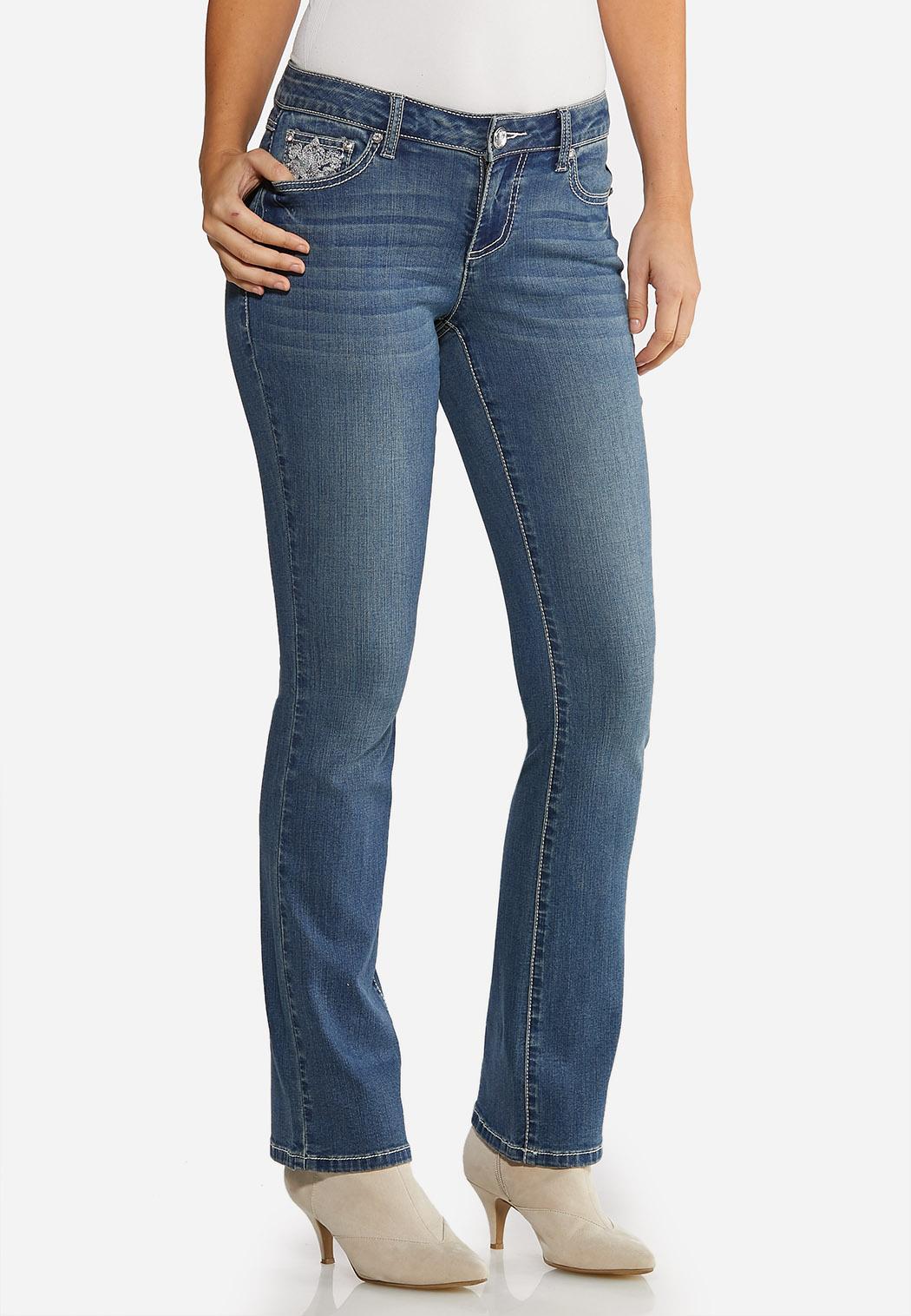 Petite Burst of Bling Bootcut Jeans (Item #44023803)