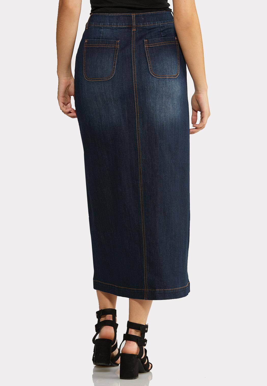 Button Front Denim Skirt (Item #44023863)