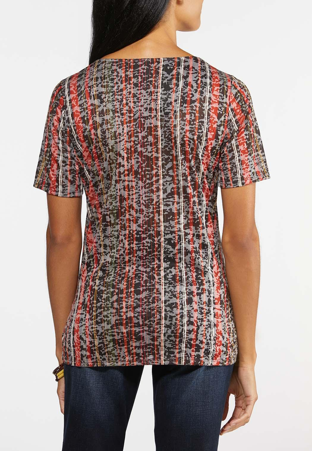 Plus Size Burnout Stripe Tie Top (Item #44024135)