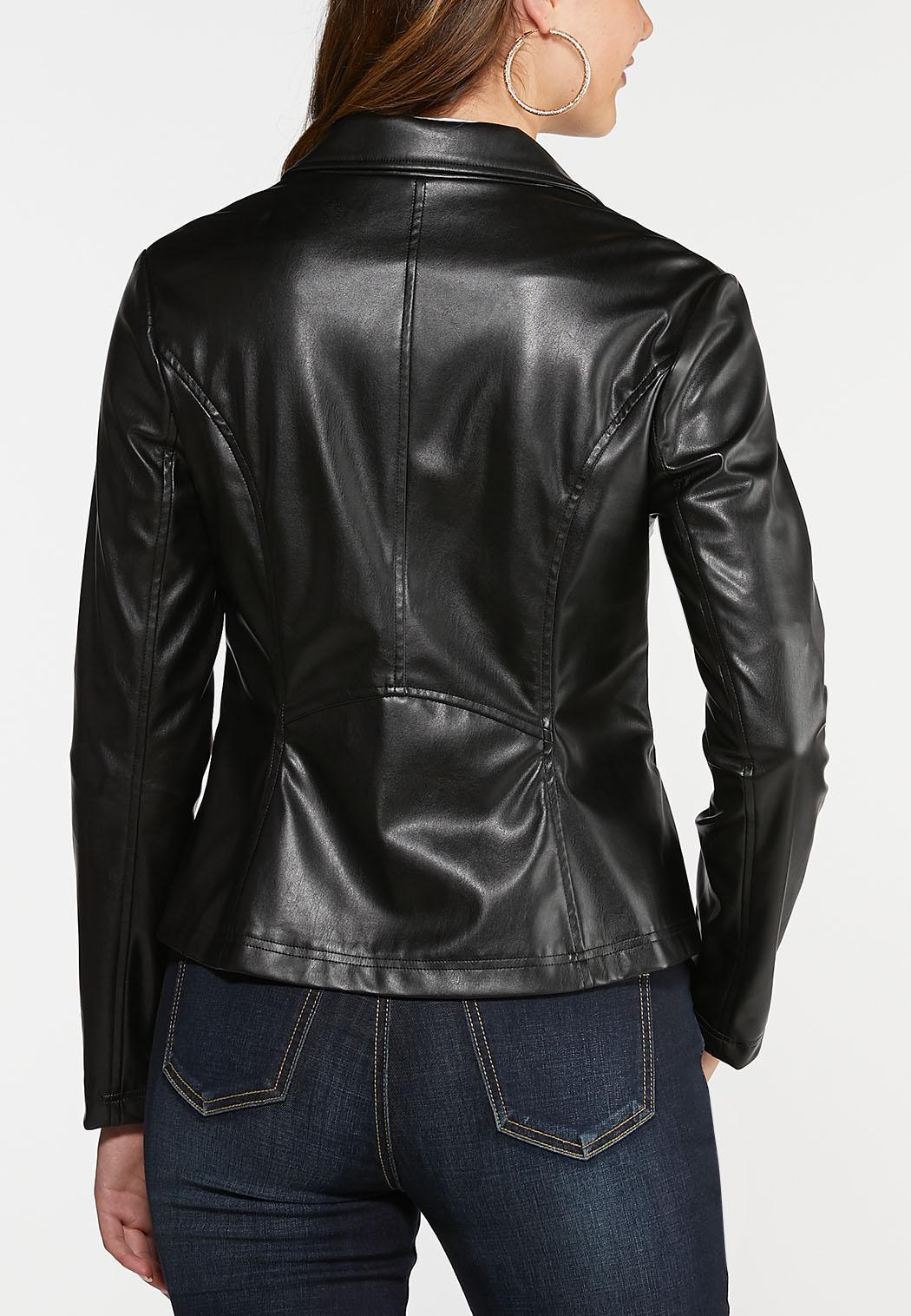 Black Faux Leather Moto Jacket (Item #44024374)