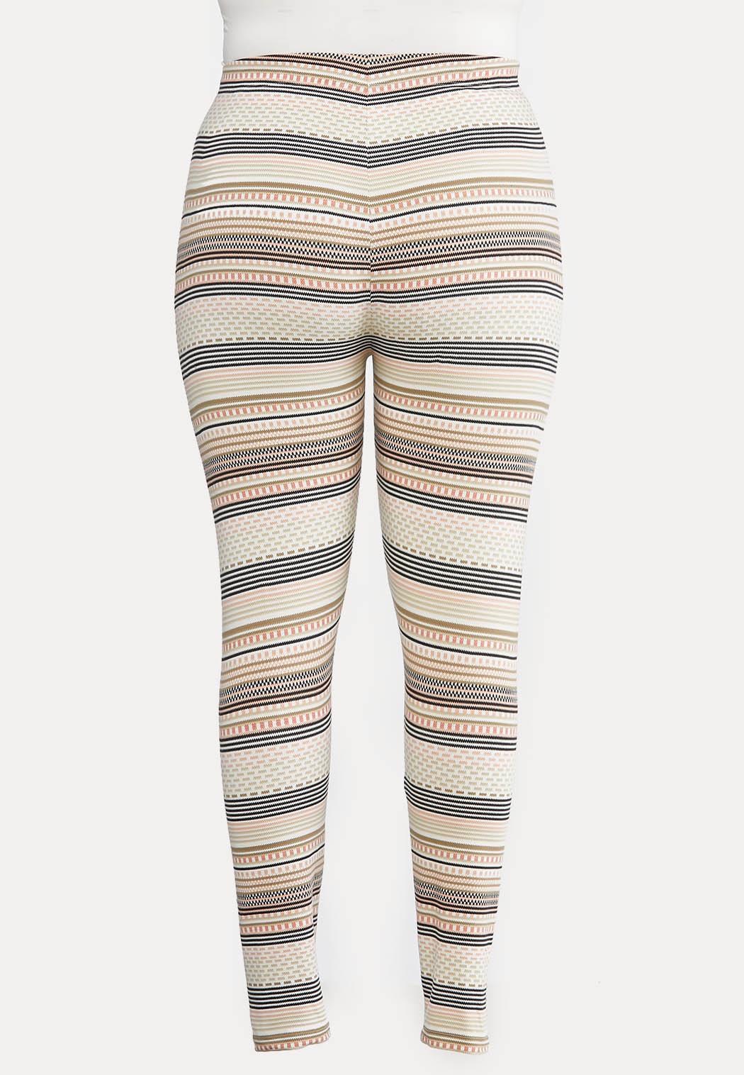 Plus Size Blush Fair Isle Stripe Leggings (Item #44024876)