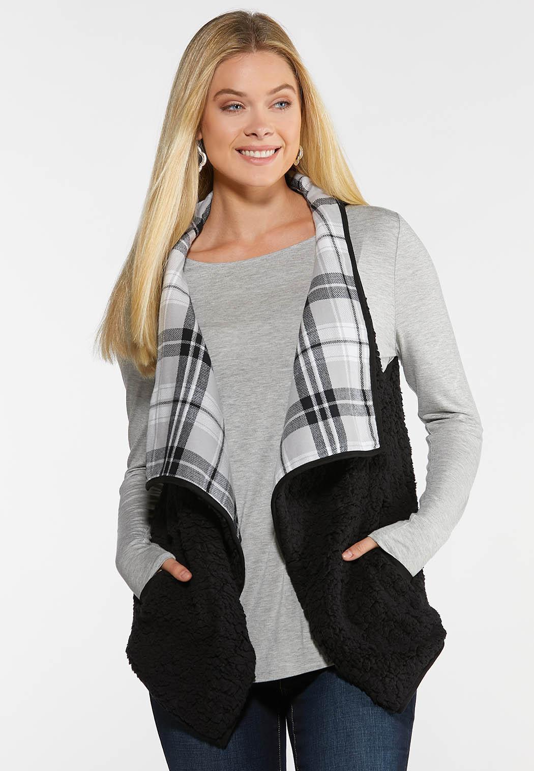 Black Plaid Reversible Vest (Item #44024976)