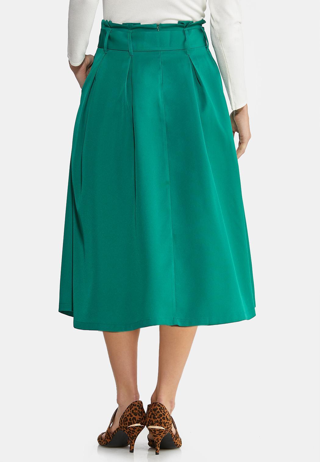 Plus Size Paper Bag Midi Skirt (Item #44025232)