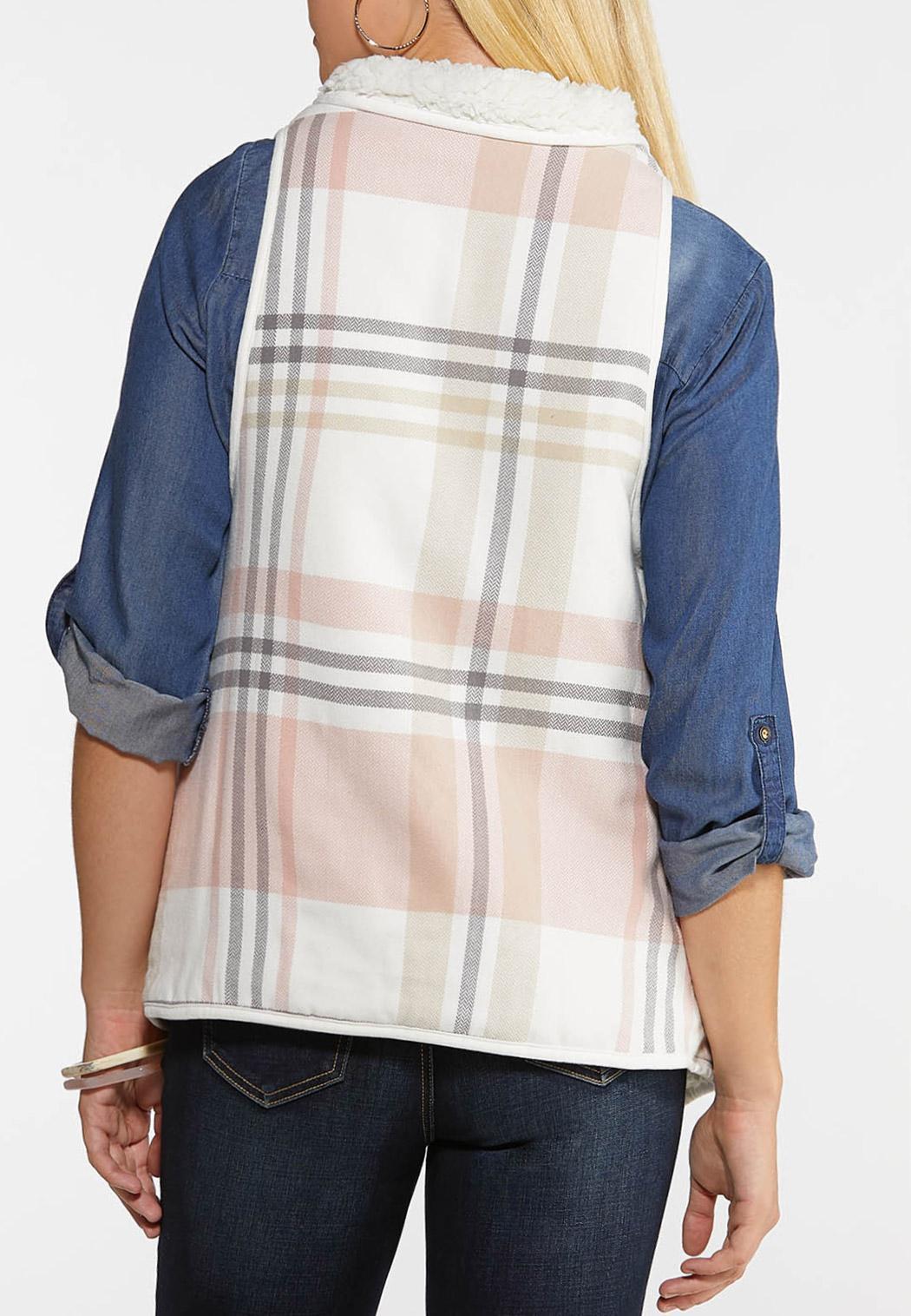 Plus Size Pink Plaid Reversible Vest (Item #44025282)