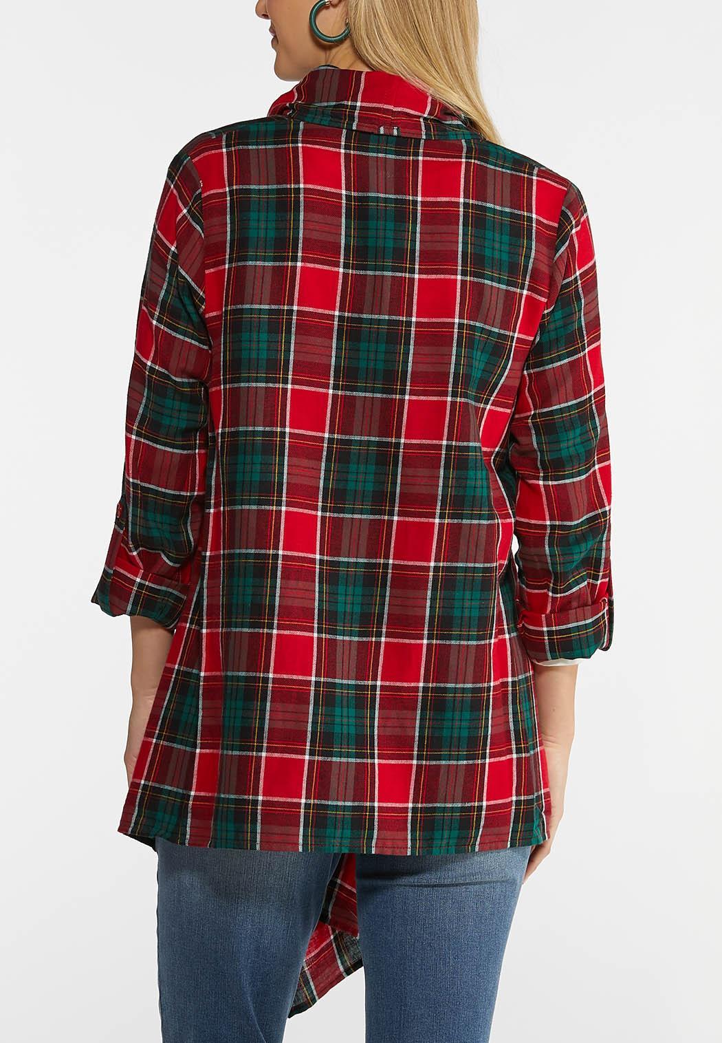 Plus Size Plaid Draped Jacket (Item #44025506)