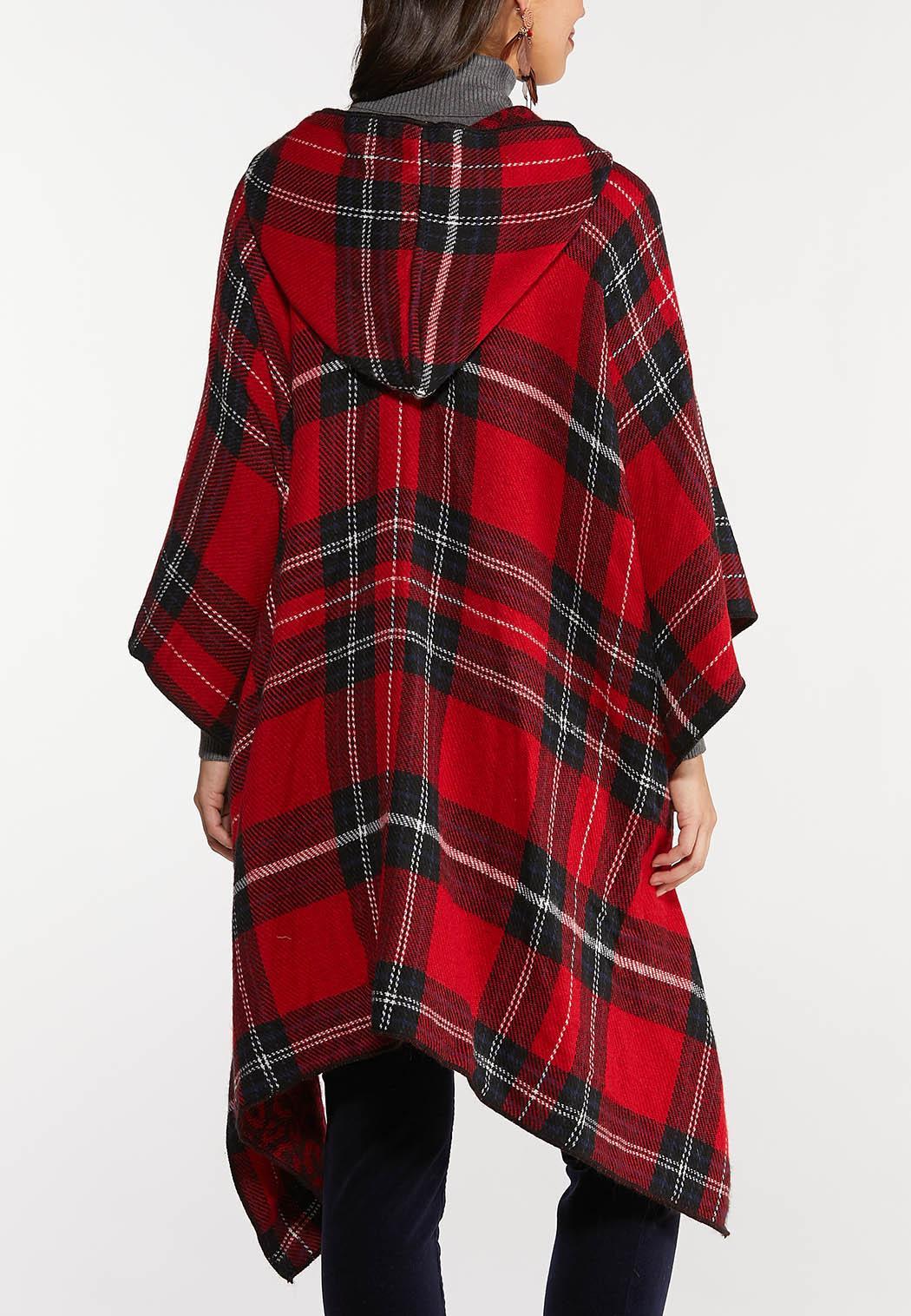 Hooded Red Plaid Poncho (Item #44025664)