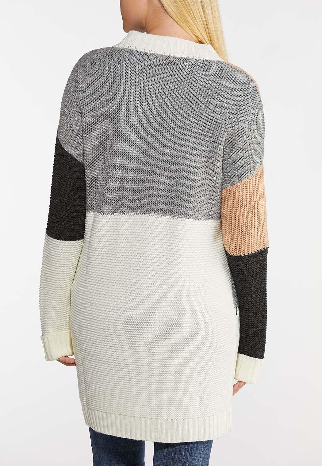 Plus Size Colorblock Cardigan Sweater (Item #44026064)