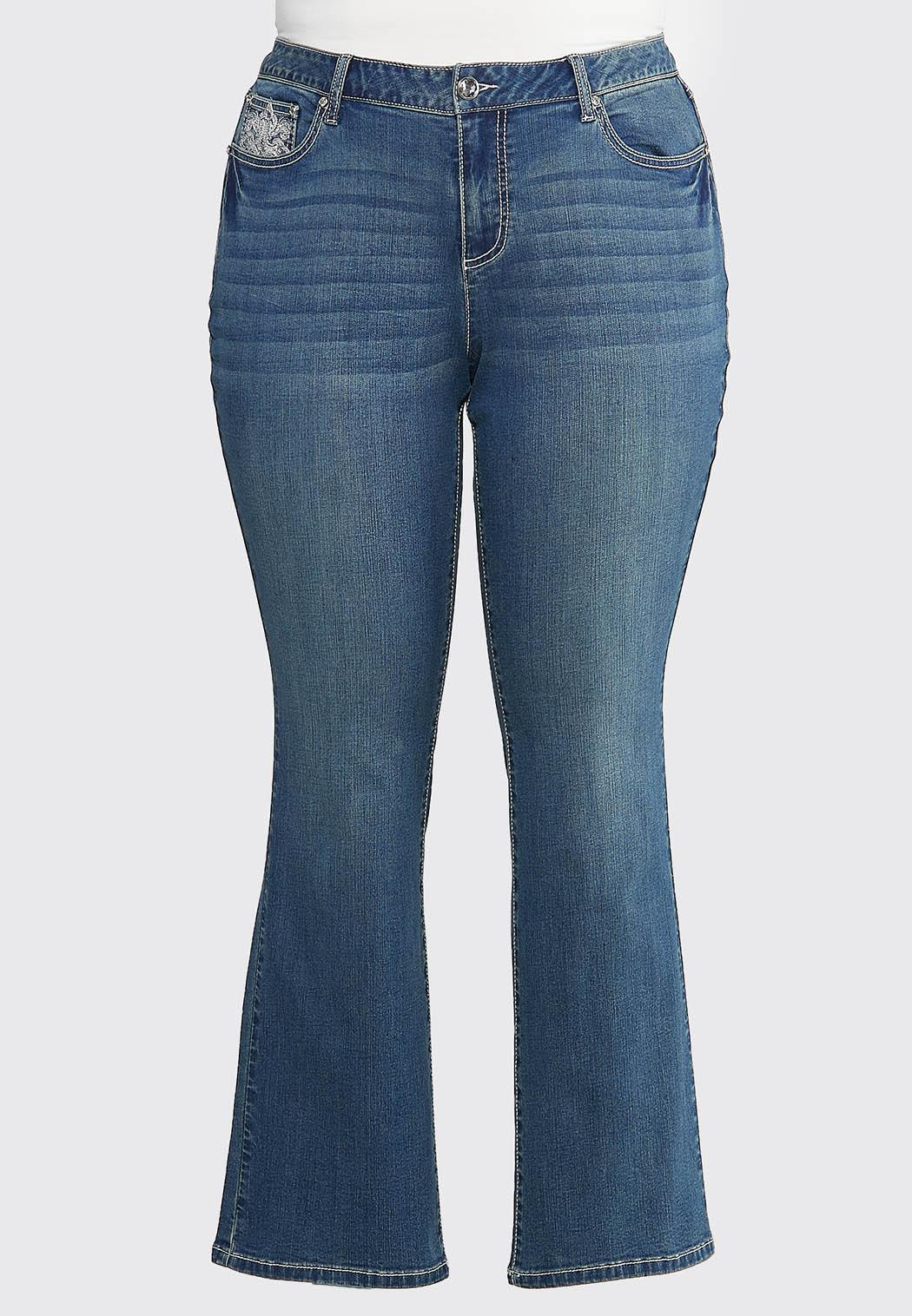 Plus Size Burst of Bling Bootcut Jeans (Item #44026119)